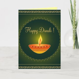 Diwali lamp on green - Card card