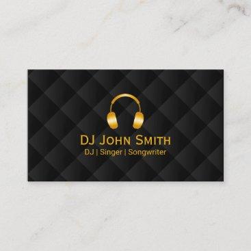 DJ Headphones icon Luxury Black & Gold Business Card