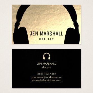 DJ headphones on faux gold foil Business Card