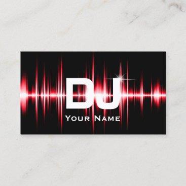 DJ Modern Red Beats Professional Deejay Music Business Card