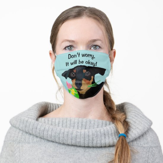 Doberman Pincher Puppy with Flowers in his mouth Cloth Face Mask