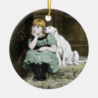 Dog Adoring Girl Ceramic Ornament