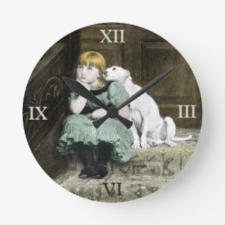 Dog Adoring Girl Round Clock
