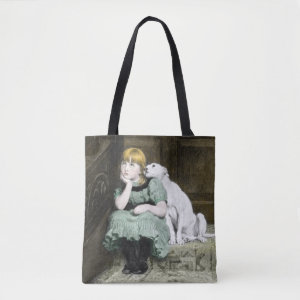 Dog Adoring Girl Tote Bag