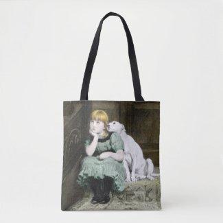 Dog Adoring Girl Tote Bag