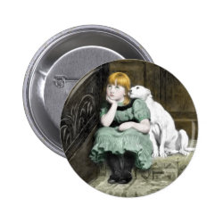 Dog Adoring Girl Victorian Painting Button