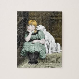 Dog Adoring Girl Victorian Painting Jigsaw Puzzle