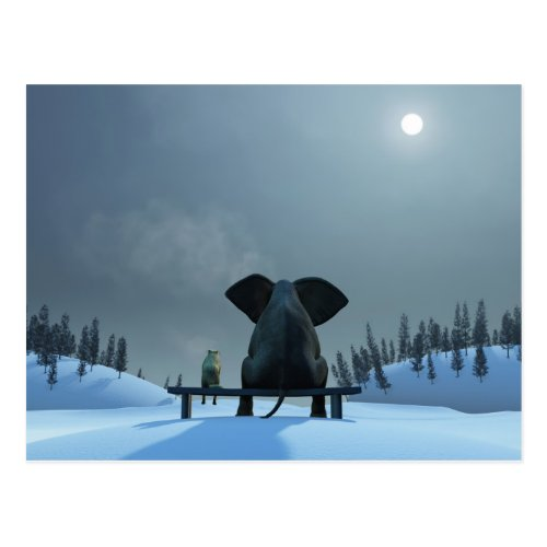 Dog and Elephant Friends Postcard