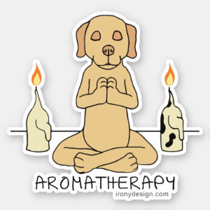 Dog Aromatherapy Meditation Funny Contour Cut Sticker
