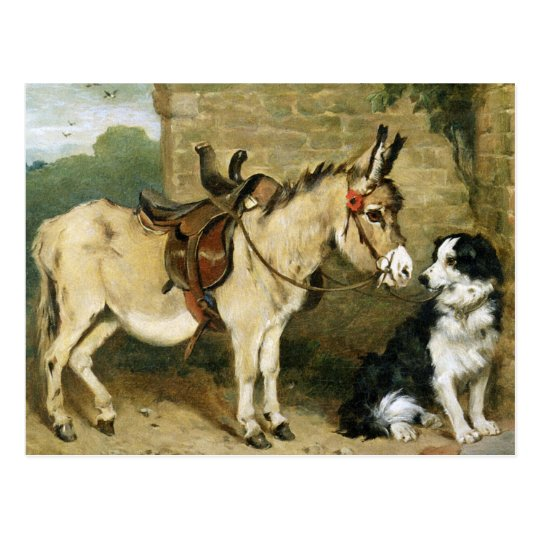 Dog Donkey Animal Friends Vintage Art By Emms Postcard