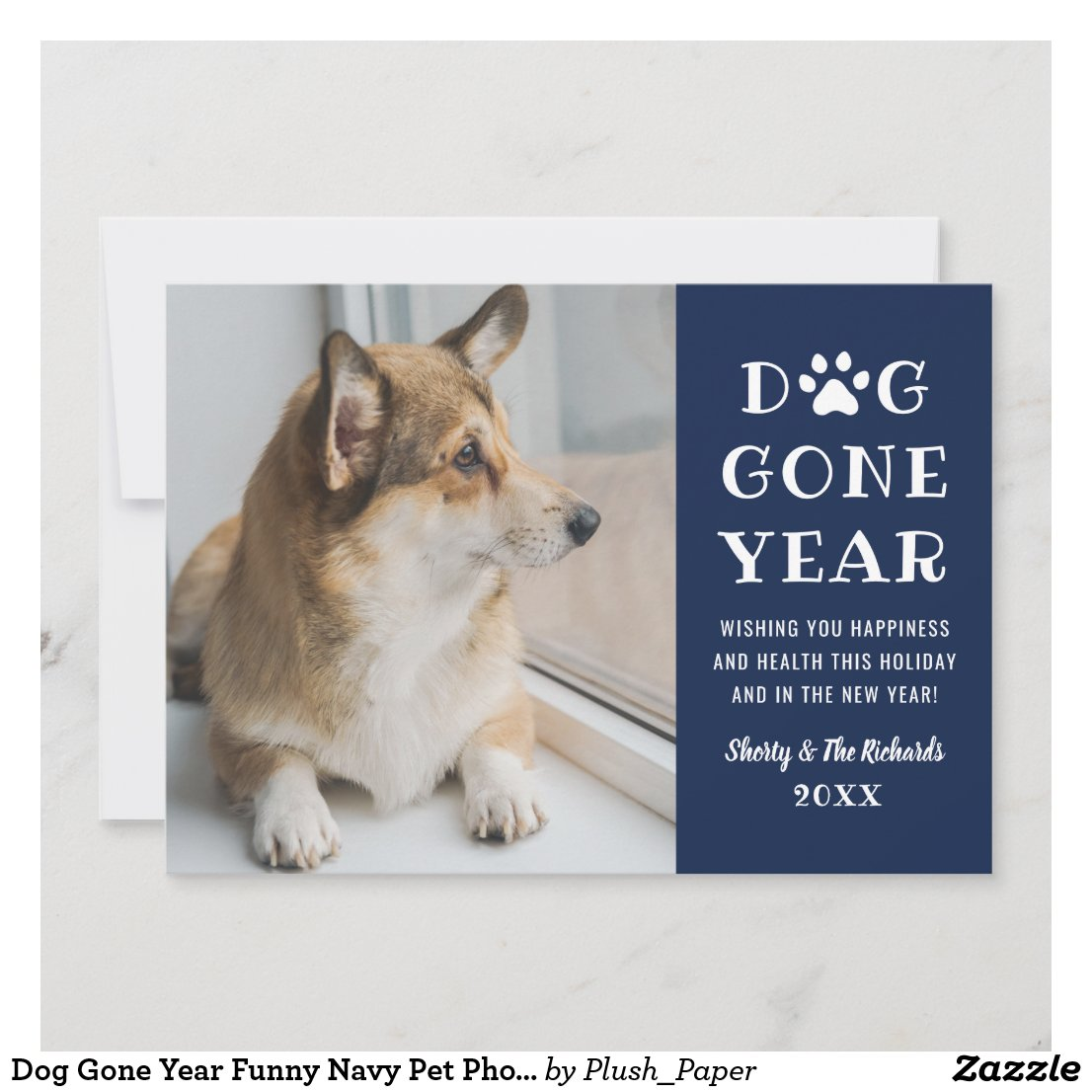Dog Gone Year Funny Navy Pet Photo Holiday Card