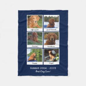 Dog Instagram Photo Collage In Memory Of Fleece Blanket