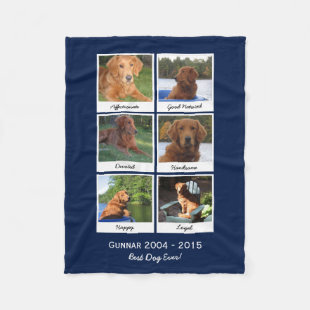 Dog Instagram Photo Collage In Memory Of Fleece Blanket