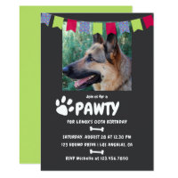 Dog or Puppy Birthday Party photo invitation