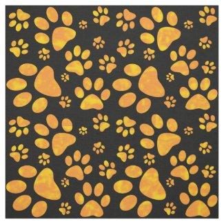 Dog Paw Print Pattern Orange Yellow Fabric