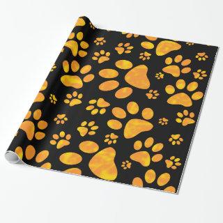 Dog Paw Print Pattern Orange Yellow Wrapping Paper
