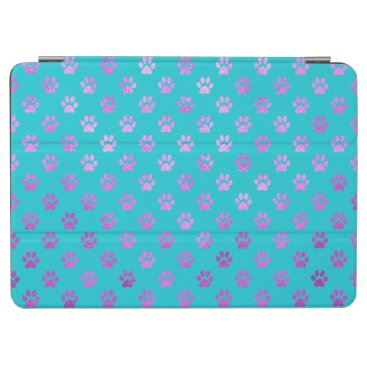 Dog Paw Print Purple Pink Aqua Teal Blue iPad Air Cover