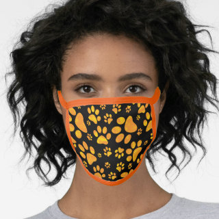 Dog Paw Prints Pattern Orange Face Mask