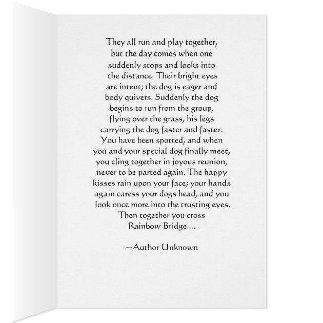 Dog Sympathy Rainbow Bridge Poem Card