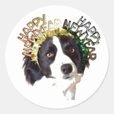 Dog Wearing Happy New Year Hats Classic Round Sticker