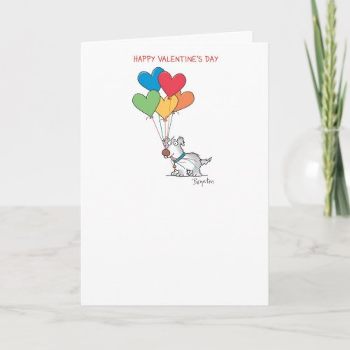 DOG WITH HEART BALLOONS Valentines by Boynton Holiday Card