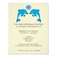 Dolphin And Love Heart Bubble Evening Reception Card