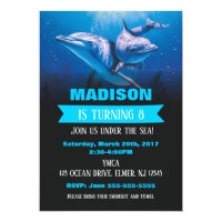 Dolphin Birthday Invitaion Pool Party Invite