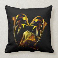 Dolphin crystal love throw pillow