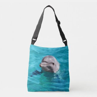Dolphin in Blue Water Image Crossbody Bag