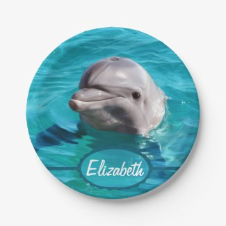 Dolphin in Blue Water Photo Paper Plate