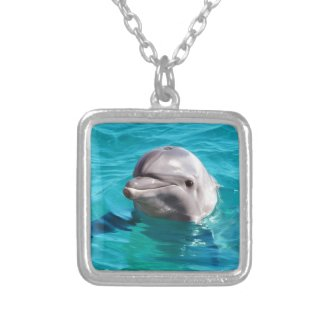 Dolphin in Blue Water Photo Silver Plated Necklace