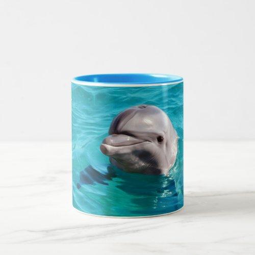 Dolphin in Blue Water Photo Two-Tone Coffee Mug
