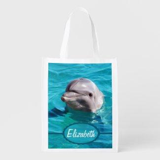 Dolphin in Water Personalized Reusable Grocery Bag