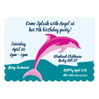 Dolphin theme birthday party invitation