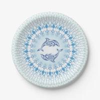 Dolphins Mandala Blue White Paper Plate