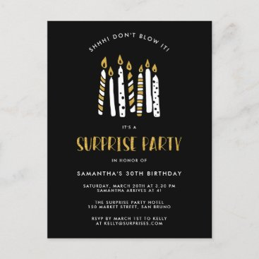 Don't Blow It Gold Glitter Surprise Birthday Party Invitation Postcard