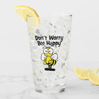 Don't Worry Be Happy Bee | Bumble Bee Glass
