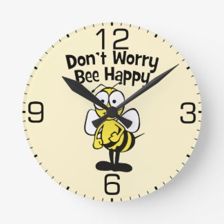 Don't Worry Be Happy Bee | Bumble Bee Round Clock