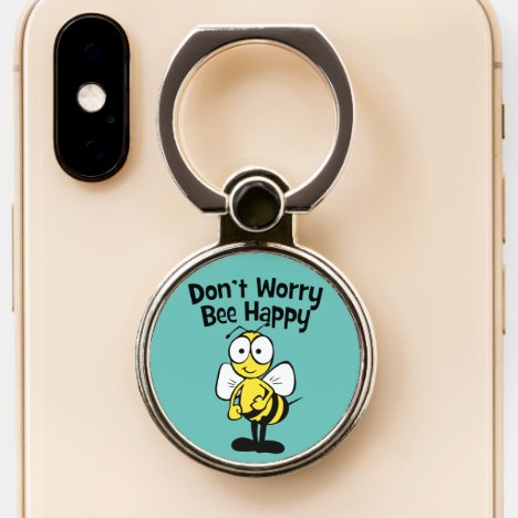Don't Worry Be Happy Bumble Bee | Turquoise Phone Ring Stand