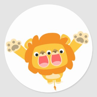 Double Trouble cute cartoon lion sticker sticker