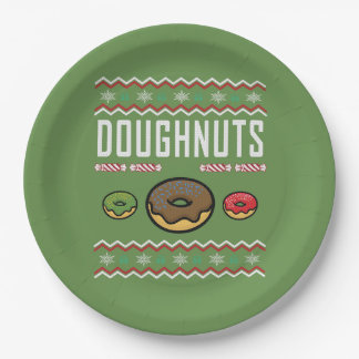 Doughnuts Ugly Christmas Sweater Paper Plate