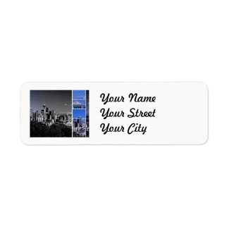 Downtown Seattle Blue Grey Collage Labels