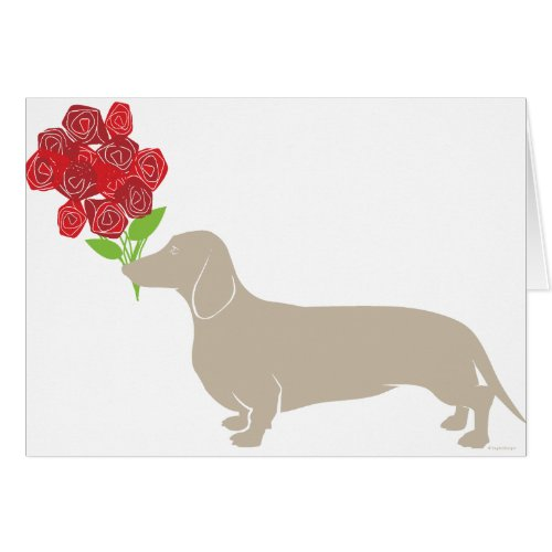 Doxie 12 Red Roses - Valentines Day! Card