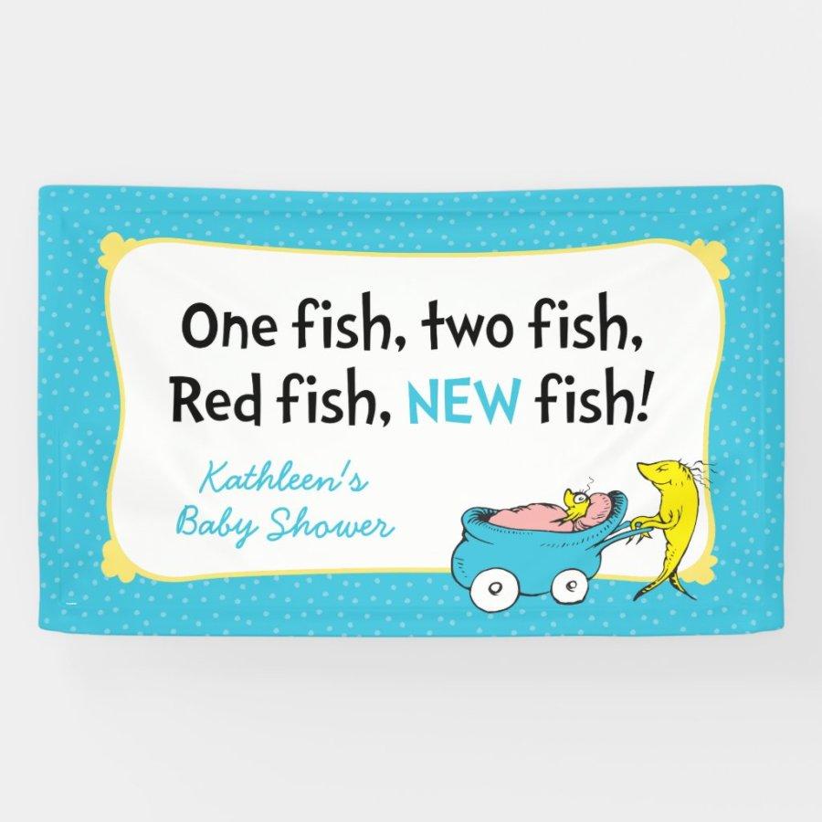 Dr. Seuss   One Fish - Boy Baby Shower Banner