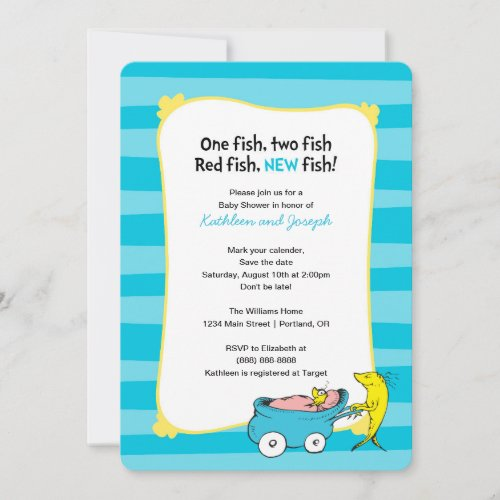Dr. Seuss | One Fish - Boy Baby Shower Save The Date