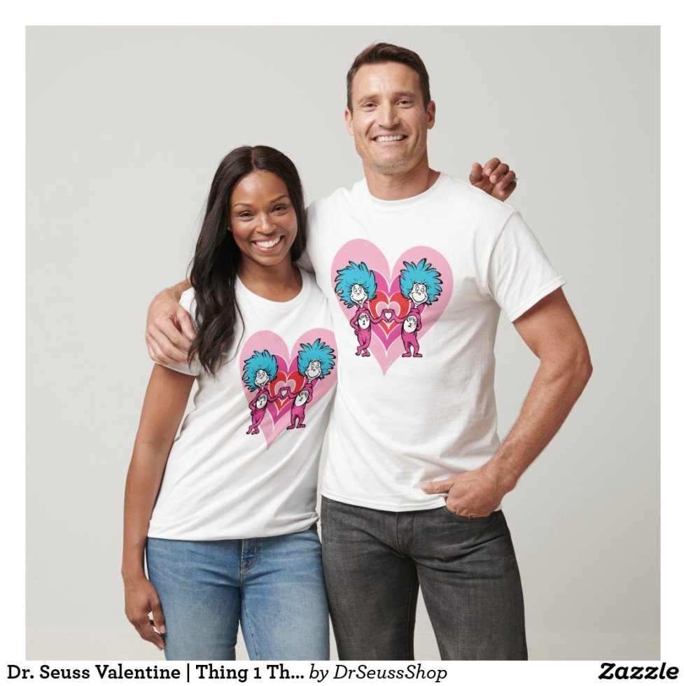 Dr. Seuss Valentine | Thing 1 Thing 2 Couple T-Shirt