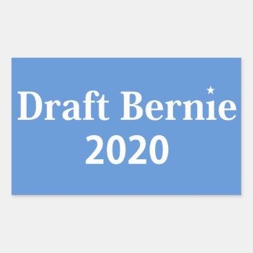 Draft Bernie 2020 Rectangle Sticker White on Blue