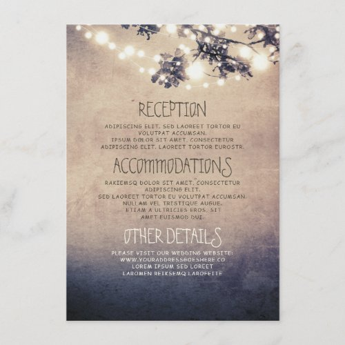 Dreamy String Lights Branches Wedding Details Enclosure Card