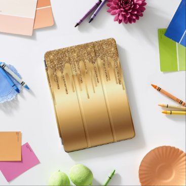 Dripping Gold Paint Glitter Accents Sparkly iPad Pro Cover