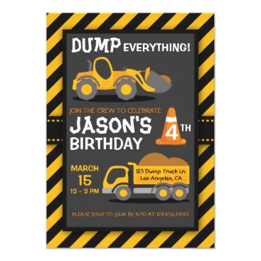 Dump Everything Dump Truck Birthday Party Invite